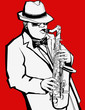 Jazz music saxophonist on a red background