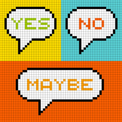 8-bit Pixel Yes No Maybe Speech Bubbles