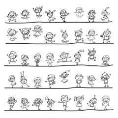 hand drawing cartoon character happy kids