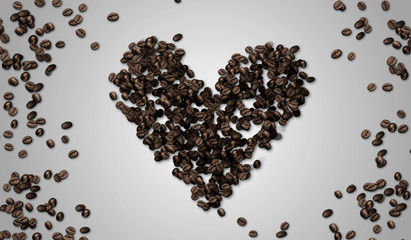 Heart Shape Coffee Bean on White paper