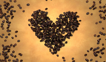 Heart Shape Coffee Bean on Old Paper