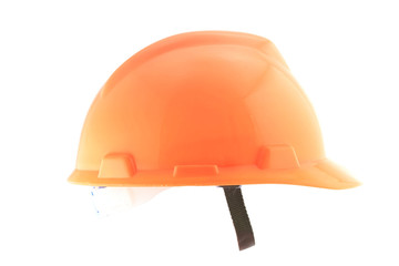 Orange helmet isolated on white