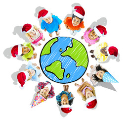 Group of Children with Merry Christmas Concept