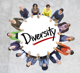 Diverse People in a Circle with Diversity Concept