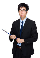 Business man hold with file pad