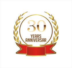 30 years anniversary with laurel ribbon