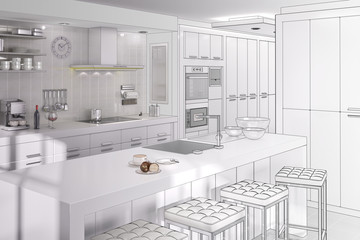 Kitchen in White (drawing)