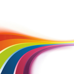 Bright rainbow swoosh lines background