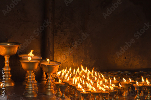 Candles at temple in Kathmandu - 66690131