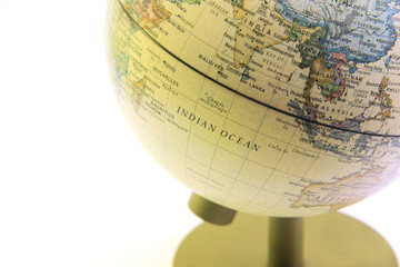 The globe close up, indian ocean past