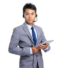Customer services representative with tablet