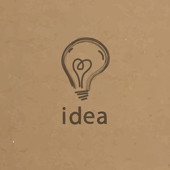 Lightbulb paper illustration. Creative idea symbol concept. Vect