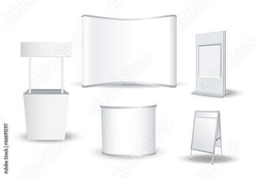 Set of blank exhibition stand