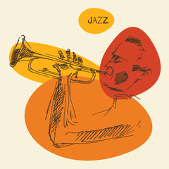 JAZZ concept, music vintage illustration, engraved retro style