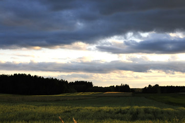 dramatic sky in evening in country Poland