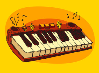 jazz music, piano, synthesizer, vintage illustration