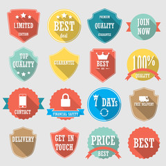 Set of color shopping shield retro vintage badges and labels