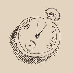 Clock (chronometer) engraved illustration, sketch