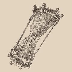 hourglass vintage illustration, engraved style, sketch