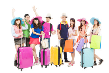 Group of friends or classmates are ready to travel