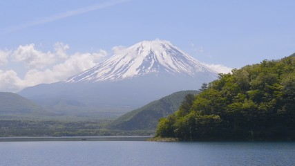 Mt.Fuji and Lake Motosu,in Yamanashi,Japan