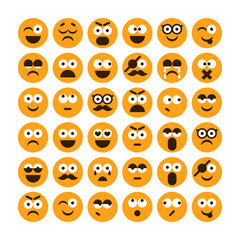 Set of different smiling icons