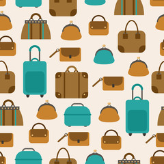 Seamless pattern of bags, luggage, baggage