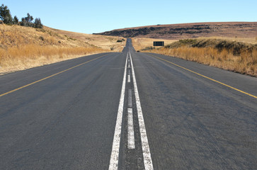Straight Rural Asphalt Road in Orange Free State, South Africa
