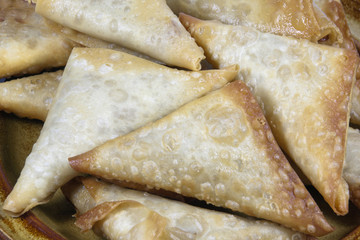 Closeup of Folded and Freshly Fried Samoosas