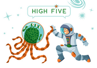 Astronaut And Alien Making High Five