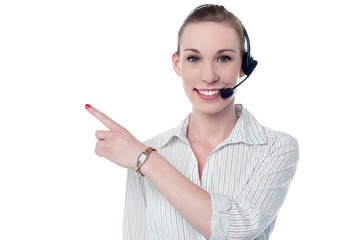 Female call center executive wearing headset