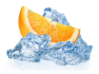 Orange fruit with ice isolated on white background