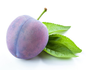 Plum with leaf isolated
