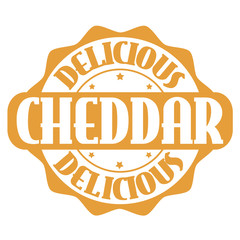 Delicious cheddar stamp or label