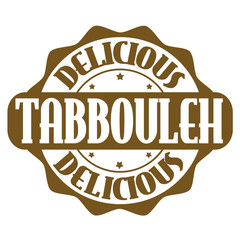 Delicious tabbouleh stamp or label