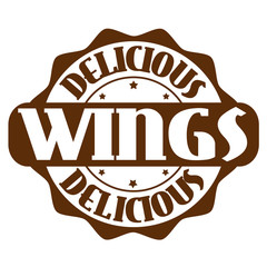 Delicious wings stamp or label