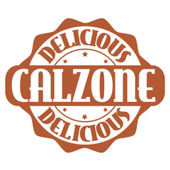 Delicious calzone stamp or label