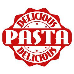 Delicious pasta stamp or label