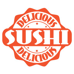 Delicious sushi stamp or label