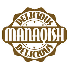 Delicious manaqish stamp or label