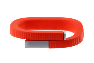 Orange wristband to track activity, calories burned