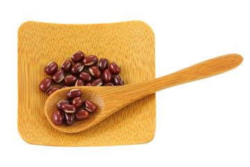 Japanese Azuki beans (Adzuki, Aduki) on a wooden spoon