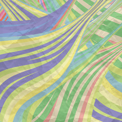 vector background with colored lines and texture of crumpled pap