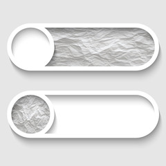 set of two vector buttons with paper texture