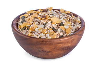 Healthy muesli from different grains in a wooden bowl