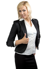 Portrait of businesswoman with thumb up