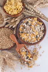 Muesli, cornflakes and ripe wheat as healthy food