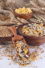 Muesli, cornflakes and ripe wheat as healthy food