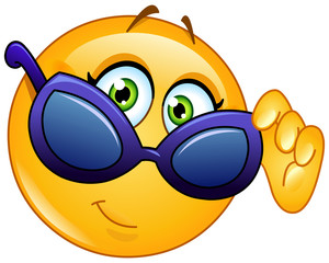 Emoticon looking over sunglasses