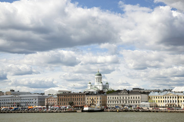 harbor front and helsinki cathedral seen from the water